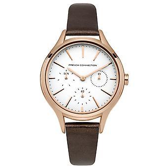Franske forbindelse dame damer Wrist Watch brun læder rem FC1273TRG