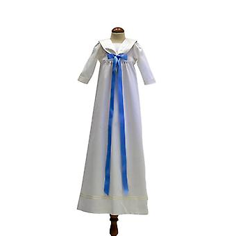 Doop jurk genade van Zweden-met lange mouwen en licht blauwe strik