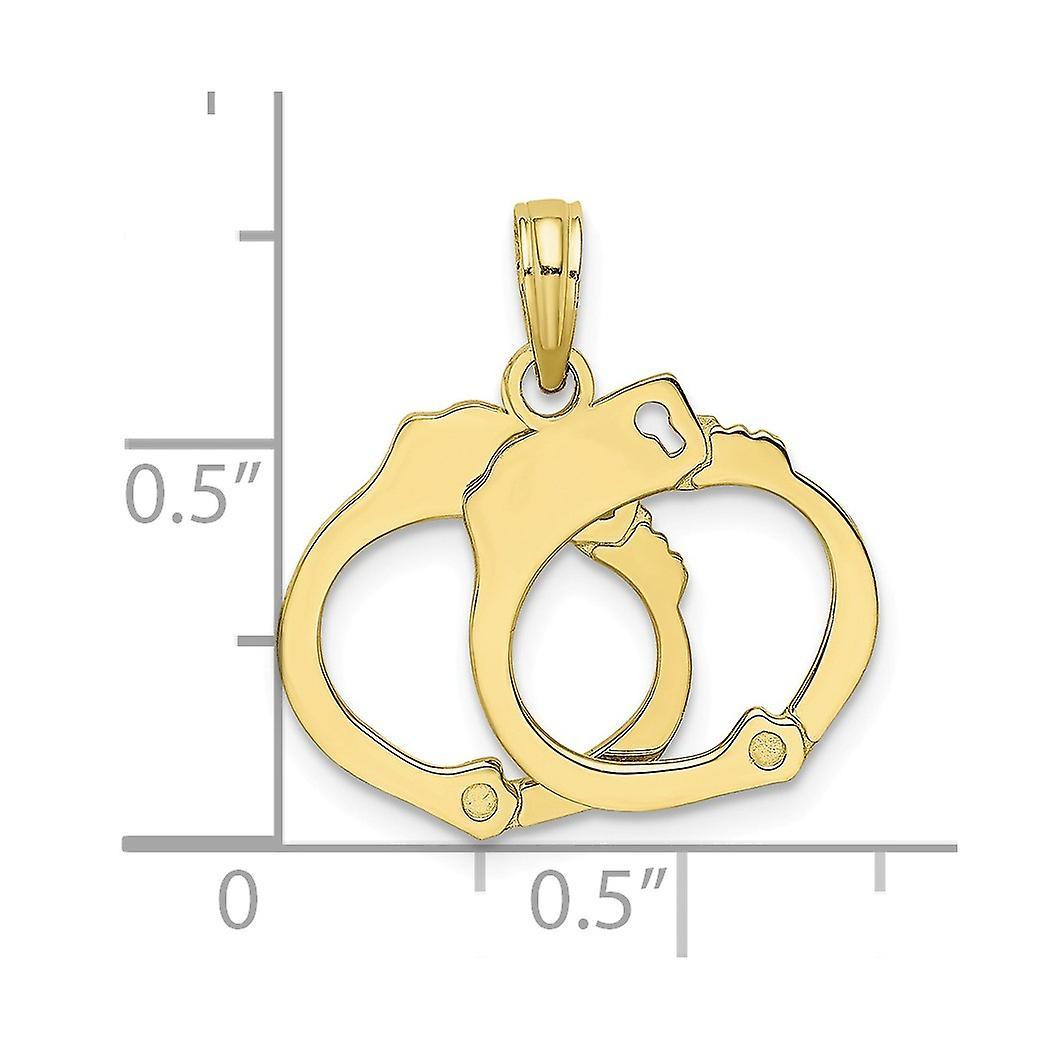 10 k Gold 3 d Handschellen beweglichen Charme Schmuck Geschenke für Frauen - 1,4 Gramm