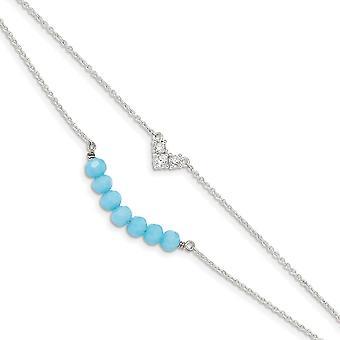 925 Sterling Silver CZ Cubic Zirkonia simuloitu timantti ja sininen lasi helmiä 1inch ext. rannekoru 6 tuumaa