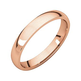 10k Rose Gold 3mm Polished Light Comfort Fit Band Ring  Jewelry Gifts for Women - Ring Size: 7 to 8