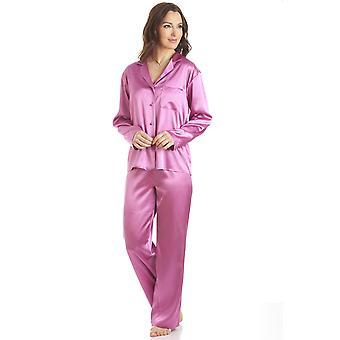 Camille Pink Satin fuld længde pyjamas sæt