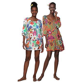 Desigual Women's Minowa Tropical Floral Print Chiffon Beach Kaftan Dress
