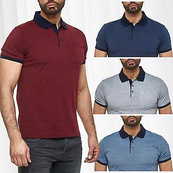 Men Basic Poloshirt Anchor short sleeve collar summer club shirt cotton design