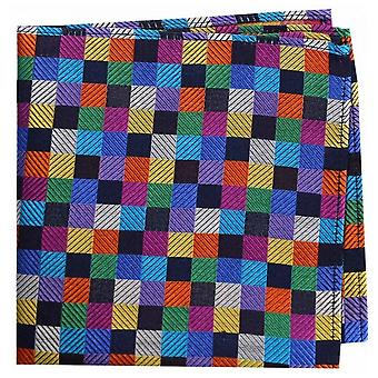 Posh and Dandy Small Squares Silk Handkerchief - Multi-colour