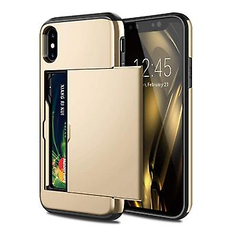 VOFOLEN iPhone XS Max - Wallet Card Slot Cover Case Business Gold