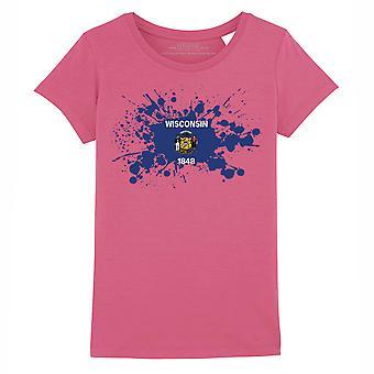 STUFF4 Girl's Round Neck T-Shirt/USA State/Wisconsin Flag Splat/Dark Pink