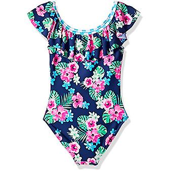 Angel Beach Girls' Big One Piece Swimsuit with, Navy Floral Print, Size 14