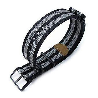 Strapcode n.a.t.o watch strap miltat 20mm or 22mm g10 nato 3m glow-in-the-dark watch strap, pvd black - black and grey stripes