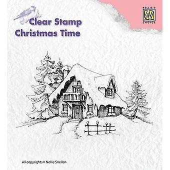 Nellie's Choice Clearstamp - Christmas time snowy house CT014