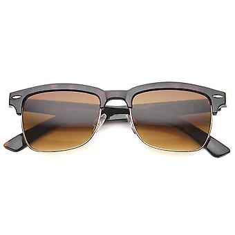 Classic Horn Rimmed Square Lens Semi-Rimless Sunglasses 52mm
