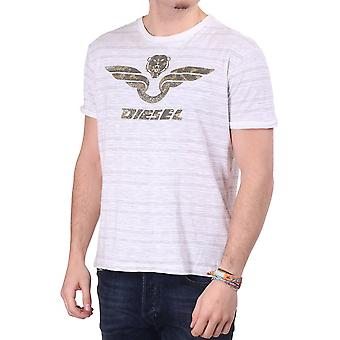 Diesel Mens S/s C/n T-shirt With Tiger Print