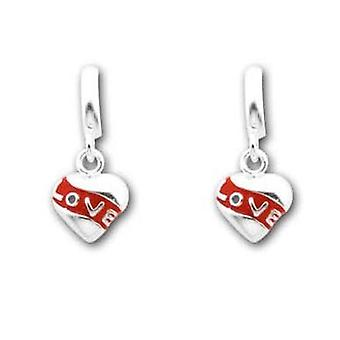 TOC Girls Sterling Silver Red Love Heart Drop Earrings 18mm