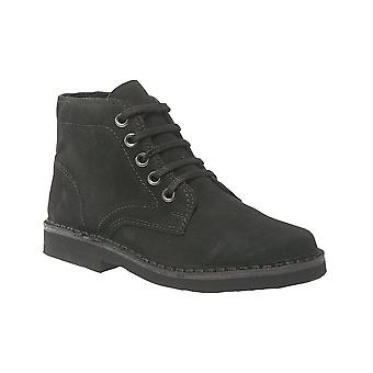 Roamers Black Real Suede 5 Eye Leisure Boot Textile Lining Pvc Micro Sole