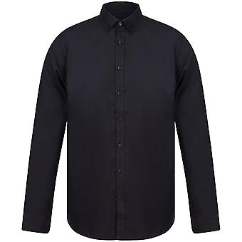 Henbury Mens Modern Long Sleeve Slim Fit Oxford Shirt