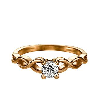 0.4 Carat E VS1 Diamond Engagement Ring 14K Rose Gold Solitaire Rope Braided