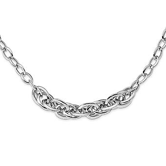 16.8mm 925 Sterling Silver Rhodium plated Polished Fancy Link Necklace 18 Inch Jewelry Gifts for Women