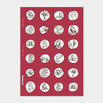 East of India Christmas Robins and Rosehips Sticker Sheet with 24 Stickers