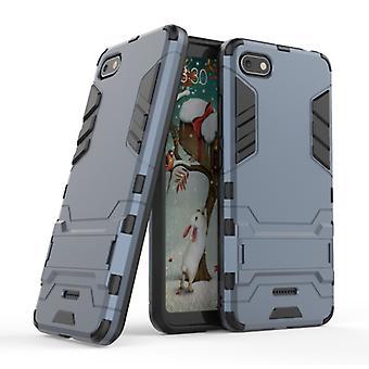 HATOLY iPhone SE (2020) - Robotic Armor Case Cover Cas TPU Case Navy + Kickstand
