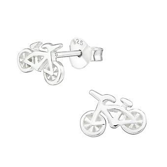 Bicycle - 925 Sterling Silver Plain Ear Studs - W32171x