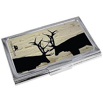 Tyler ja Tyler valkoinen tiili kiima Business Card Holder - kerma/musta/hopea