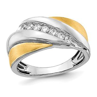 Mens 14K White and Yellow Gold 1/3 Carat (ctw) Diamond Ring Band