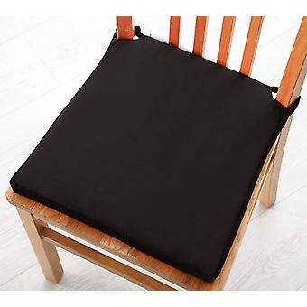 Black Seat Pad Cushions with Secure Fastening Dining Kitchen Chairs Soft Cotton Twill