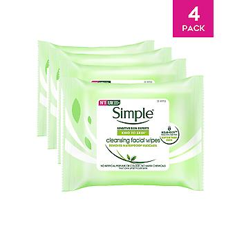 Simple Cleansing Facial Wipes Waterproof Make Up Remover 25 Wipes x 4 Packs