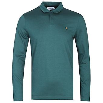 Farah Armiage Mercerised lange mouw Smaragd groene Polo shirt