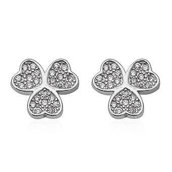 Simulated Diamond (Rnd) Stud Earrings Push Back in Rhodium Plated Silver Gift