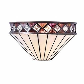 1 Light Indoor Wall Uplighter Dark Bronze With Tiffany Glass