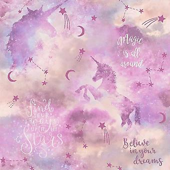 Arthouse Glitter Unicorn Wallpaper Blush Stelle Rosa Shimmer Typography Vinile