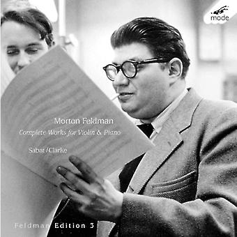 M. Feldman - Morton Feldman: Complete Music for Violin & Piano [CD] USA import
