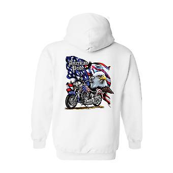 Zip Up Hoodie USA Flag American Pride Motorcycle