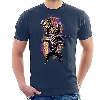 Marvel Black Panther gekümmert und Okoye Wakanda Schlacht Montage Herren T-Shirt