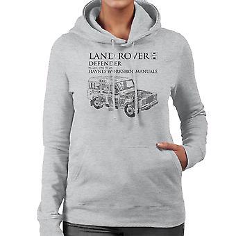 Haynes propietarios taller Manual 3017 Land Rover Defender negro sudadera con capucha de mujer