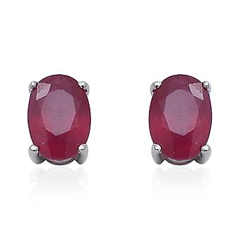 TJC AAA African Ruby Stud Boucles d'oreilles pour femmes 9ct Or blanc, 2.27 Ct