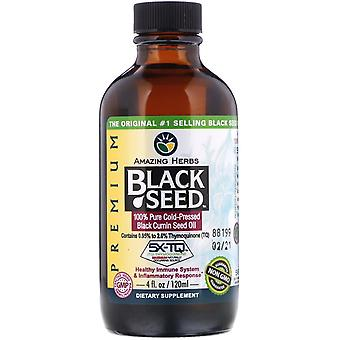 Amazing Herbs, Black Seed, 100% Pure Cold-Pressed Black Cumin Seed Oil, 4 fl oz