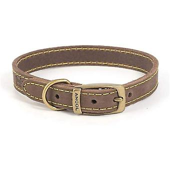 Ancol Timberwolf Leather Collar - Sable - 16 inch