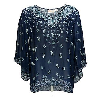 Belle by Kim Gravel Women's Top Printed Woven Blouse Navy Blue A373653