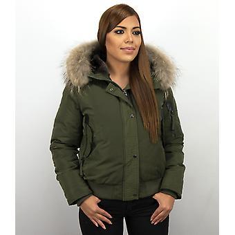 Short Warm Winter Coat - With Fur Collar - Green