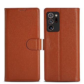 Samsung Galaxy Note 20 tapauksessa muoti aitoa nahkaa lompakko kansi ruskea
