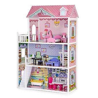 Puppenhaus aus Holz mit 5 Zimmern, darunter 18 Möbel 84x34x124 cm