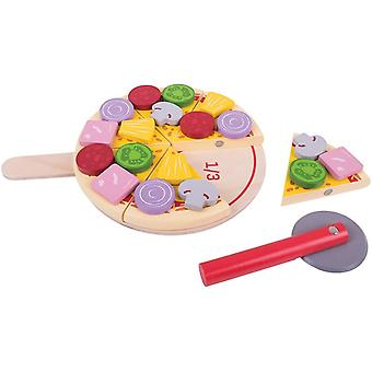 Bigjigs Toys Wooden Cutting Pizza with Wooden Toppings and Pizza Slicer