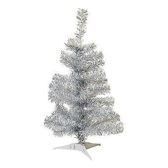 2ft (60cm) keinotekoinen mänty joulukuusi jalustalla - hopea