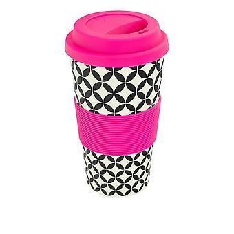 Copo de Café Reutilizável - Caneca de Viagem de Fibra de Bambu com Tampa de Silicone, Manga - 400ml (14oz) - Círculos - Rosa