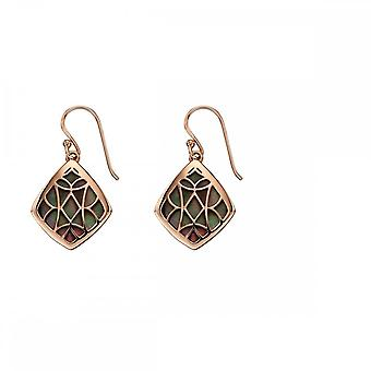 Elements Silver Rose Gold And Black Mop Earrings E5669B