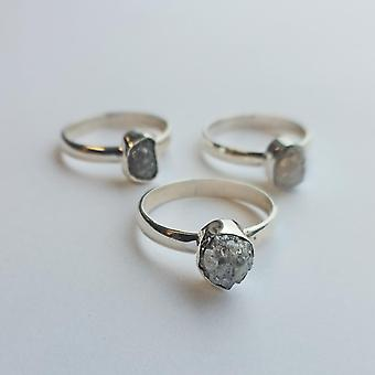 Snipe Ring Silver with Natural Rough Diamond 2.5 ct.