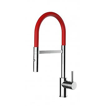 Kitchen Single-lever Sink Mixer With Red Movable Spout And 2 Jets Shower - Low Version 43 Cm - 551