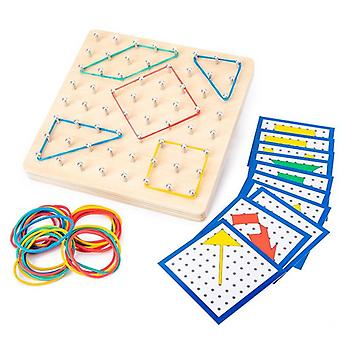 Wooden Geoboard Mathematical Manipulative Material Array Block, Graphical